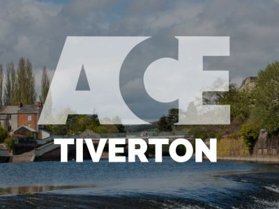 ACE school Tiverton words overlaying a photo of the river Exe inTiverton
