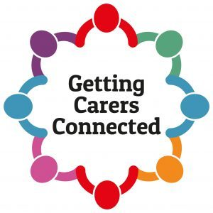 A colourful pattern containing the words 'Getting Carers Connected'.