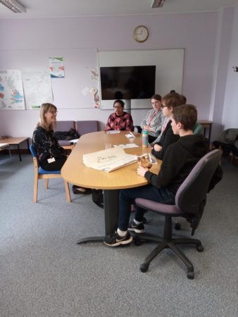 Young people interviewing Fiona Fleming