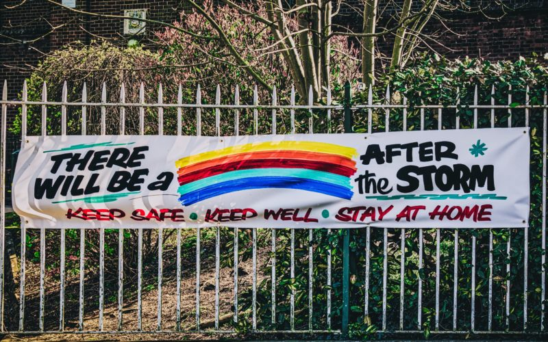 A rainbow banner with messages of hope during the coronavirus pandemic
