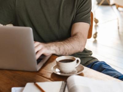 a man homeworking on a laptop