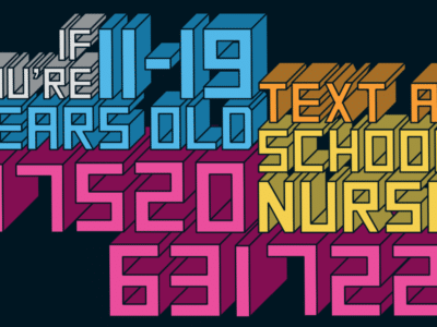 a ChatHealth poster explaining that young people can text a school nurse on 07520631722