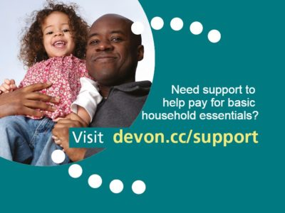 a poster explaining that extra financial support is available for families struggling as a result of COVID-19