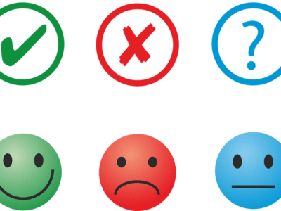 an illustration of three feedback options: happy, sad and neutral