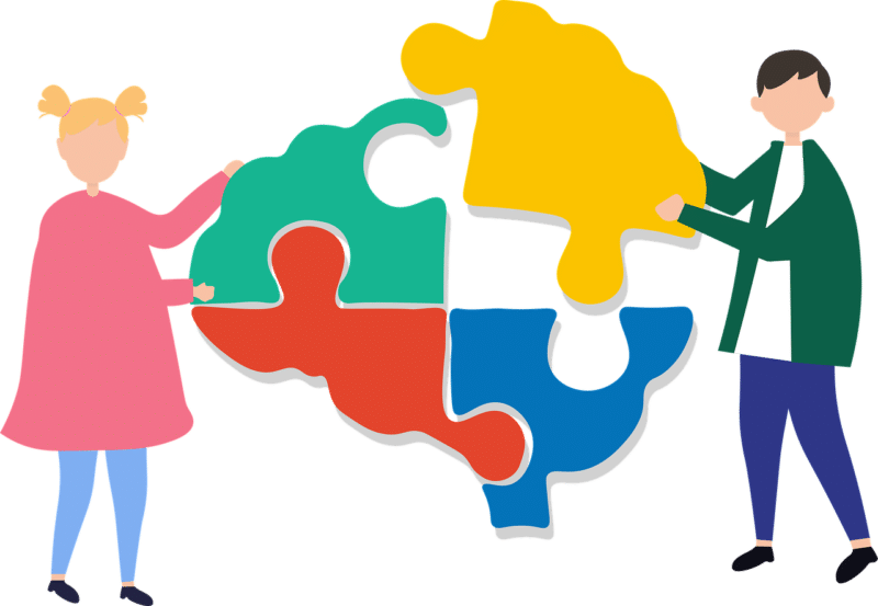 an illustration of two people putting together a brain-shaped jigsaw