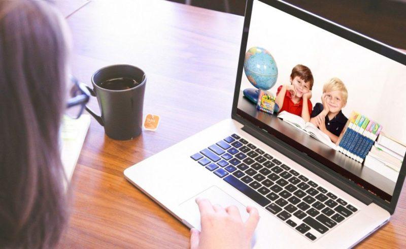 a woman using a laptop