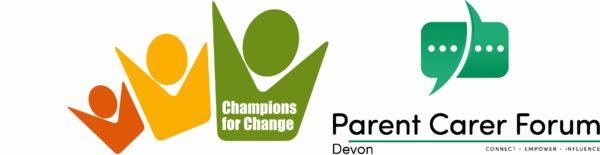 Champions for Change logo and the Parent Carer Forum Devon logo