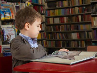 a boy reading a book