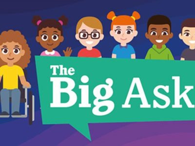 an illustration of six children to promote the Big Ask