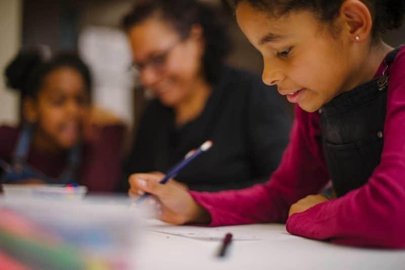a child doing art