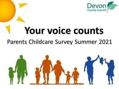 a poster promoting the Parent Childcare Survey Summer 2021